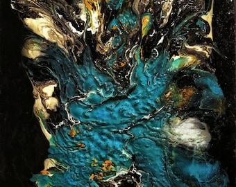 THE ANGEL ready to ship Abstract art painting fluid acrylic bleu black textured mixtemedia big painting Office decor homedecor beautiful