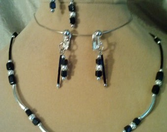 Multi-piece Black and Silver Jewelry Set including Necklace, Bracelet and Earrings