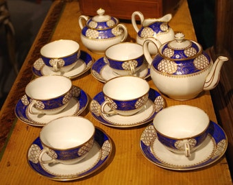 Vintage Schumann Dresden Hand Painted Bavarian Porcelain Tea Set: Tea Pot, Creamer Sugar with 6 Cups and Saucers