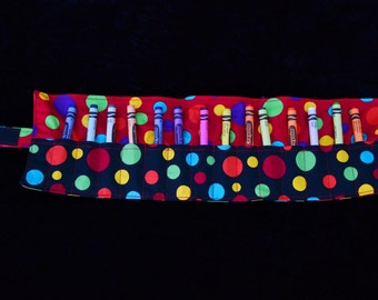 Black Spots 'Swanson' Crayon Roll, fabric crayon roll, handmade crayon roll, crayons, colouring