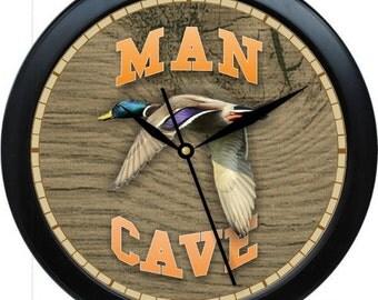 """Man Cave Mallard Duck Personalized 10"""" Wall Clock"""