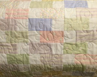 Pastel & White Baby/Crib Quilt
