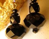 Black Onyx Glass Dangle Pierced Earrings on Gold Filled Wire by Jewelry Designer Sheryl Heading