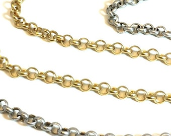 6mm Rolo Chain / Hamilton Gold Rolo / Silver Rolo Chain / Antique Silver Rolo / Matte Gold Rolo / Matte Silver Rolo / Chain by the Foot