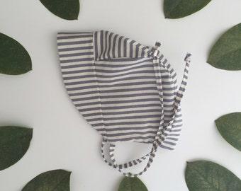 Breton stripe baby sun bonnet