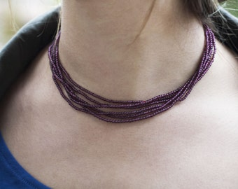 Multi-strand Burgundy, Red and Gold Beaded Necklace