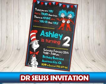 DR SEUSS Invitation, Dr Seuss Birthday Invitation,  Dr Seuss Party Printables. Dr Seuss blackboard invitation.  Dr Seuss chalkboard.Dr Seuss