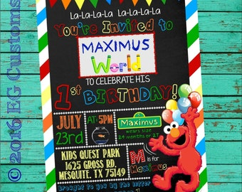 Elmo Invitation, Elmo Birthday Invitation, Elmo Chalkboard Invitation, Sesame Street Elmo Birthday Invitation Photo, Elmo's World Invite