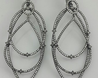 Black and White sterling silver black rhodium plated earrings