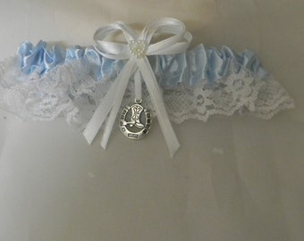 Wedding Reception Ceremony Party  Western Horseshoe and Boot Bridal Garter Blue Toss