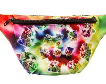 Tie Dye Cat Fanny Pack - Cute cool rave festival waist bag with Hidden Pocket