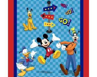 "35""x 44"" DISNEY MICKEY MOUSE Friends on the go  35"" Panel Pluto Goofy Donald 100% Fabric"