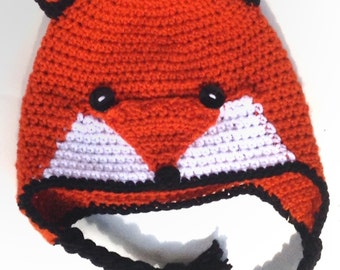 Fox Earflap Crochet Hat With or W/O Bow-FREE SHIPPING!-Multiple Sizes Available