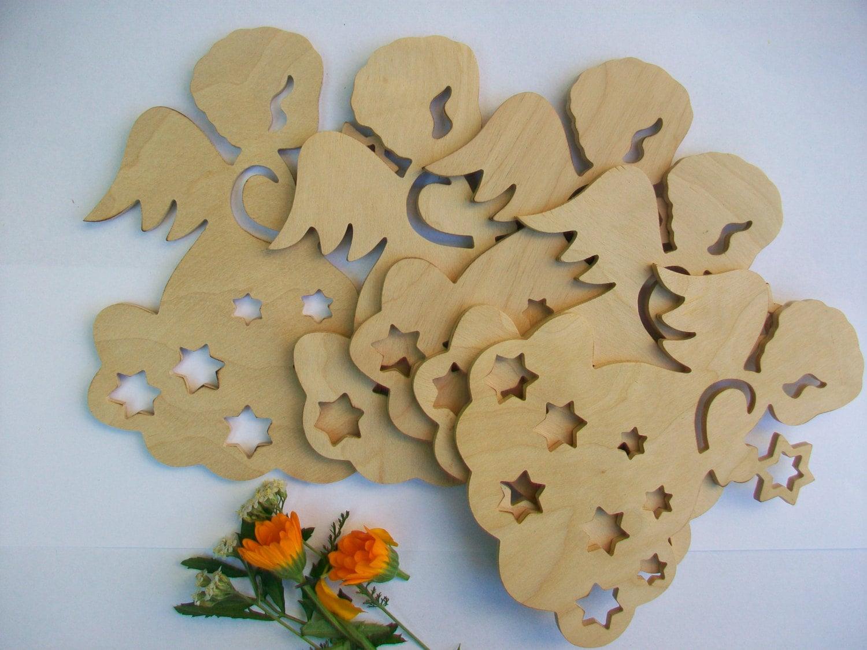 Set of 5 shapes angel plywood diy craft supplies wooden for Craft supplies wooden shapes