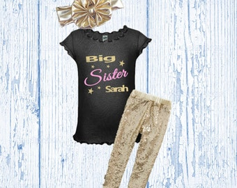 Big Sister Outfit - Big Sister Gold Glitter Outfit - Big Sister Black and Gold Shirt
