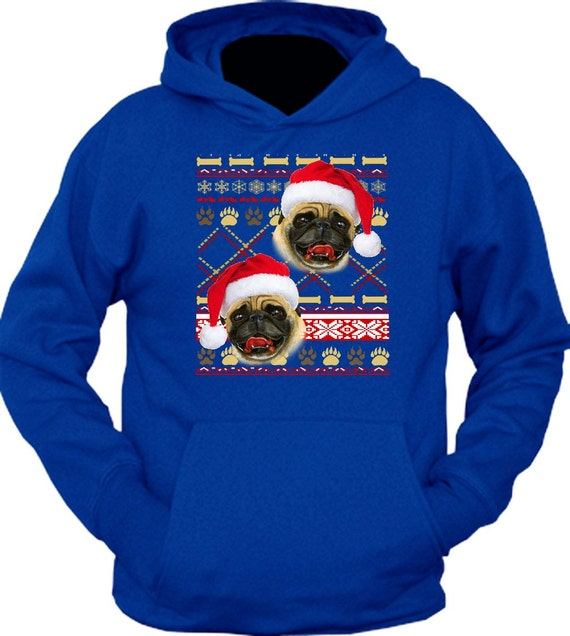 ugly pug sweaters items similar to hoodie pug ugly christmas sweater on etsy 8425
