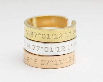 Coordinates Ring / Latitude Longitude Ring / Personalized Latitude Longitude Jewelry / Location Ring/adjustable ring FT 2