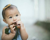 Chartreuse Leather Braided Pacifier Clip