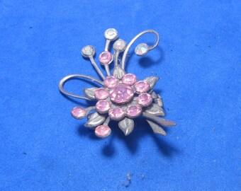 Antique Vintage Costume Brooch Gold Tone Pink Jewels