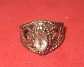 Vintage silver Ring 925 with white Jewel size 7