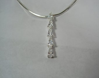 Vintage Sterling Silver Journey Necklace and Pendant 17""