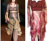 RARE!!!  Anna Sui Velvet Trim Bell Sleeves Tunic Dress