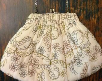 Vintage evening bag ~ pastel stitching on white