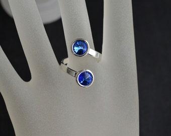 Ring 925 dual sapphire cabochon Swarovski 6mm
