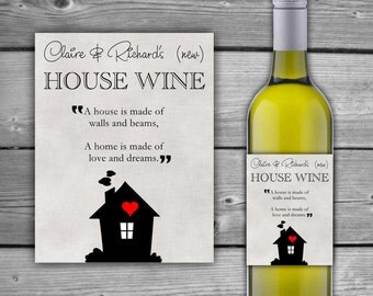 PRINTABLE - Custom - House Warming Gift Wine Label - New Home - Printable Wine Label - Housewarming Gift - Wine Bottle Label - DIY - 0037