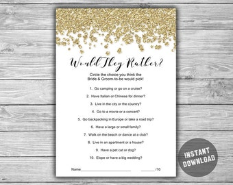 Bridal Shower Would They Rather - Game - Cards - PRINTABLE - INSTANT DOWNLOAD - Gold - Glitter - Gold Bridal Shower Game - L14