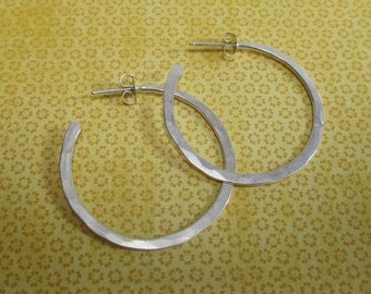 Lightly hammered sterling silver hoop earrings