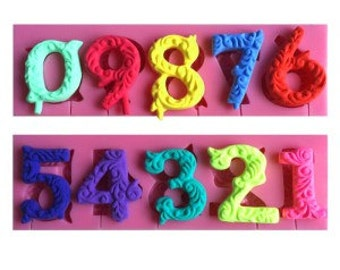 Fancy Numbers Silicone Mold Fondant Numbers