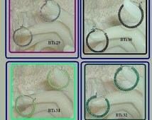 """Hypoallergenic Titanium Light Weight Seed Bead Hoops, 3/4"""" hoops, 4 Beautiful Colors to Choose From ."""