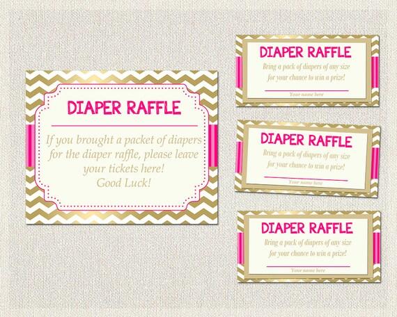 Diaper Raffle Diaper Raffle Hot Pink Gold Chevron Pink Baby Shower