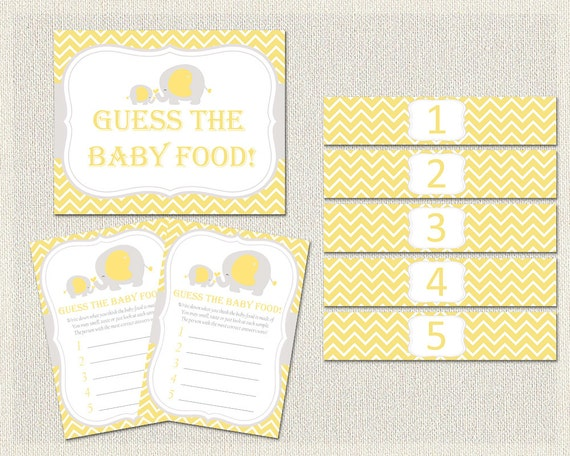 Yellow Gray Elephant Theme Baby Shower Guess The Baby Food