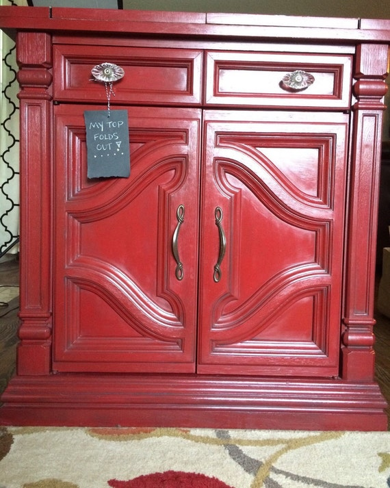 Red painted buffet sideboard cabinet antique by ReclaimedHarbor