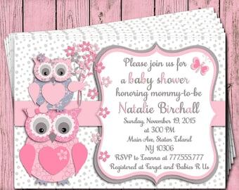 Pink fuchsia grey owl Baby shower printable invitation baby girl digital invite personalized invitation birthday party invite DIY card