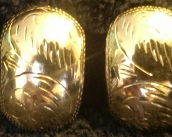Sterling silver with gold over the top clip on earrings