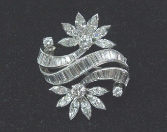 Platinum Multi Shape Diamond Pin / Brooch 4.10Ct E-F/VVS