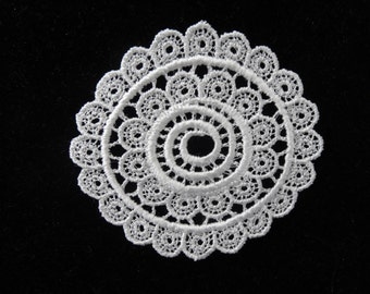 White Venise Lace Medallion - Lot of 6