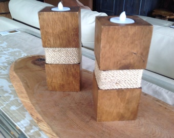 Pair of candlesticks in wood