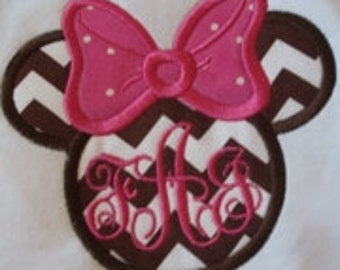 Minnie face with monogram inside