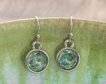 LUMEN Petite Earrings - Silver + Green