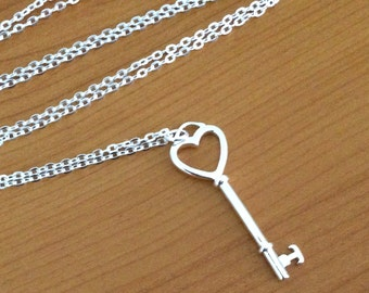 Large silver key necklace, long pendant necklace, long key pendant necklace, 30 inch silver necklace