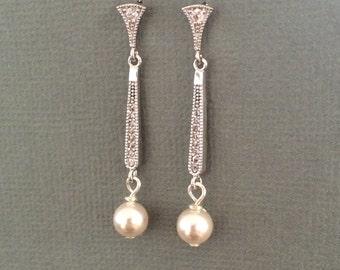 SALE Long cubic zirconia bridal earrings, long swarovski pearl earrings, bridal jewellery, bridesmaid jewellery, wedding jewellery