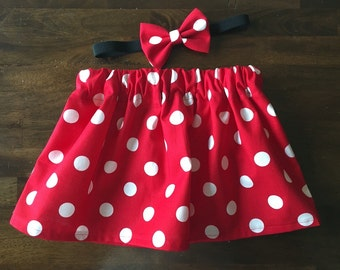 Minnie Mouse inspired skirt & bow set - infant/toddler