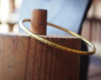 Hammered Brass Bangle 65mm