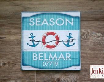 "Jersey Shore ""Belmar""  Beach Badge Wood Sign // Jersey Shore Art // NJ // Beach Decor // Town Signs // Beach House Sign // Beach Tag"