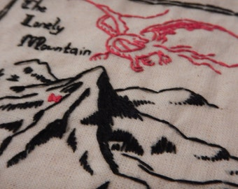 Map of Erebor - Hand stitched contemporary embroidery - J.R.R Tolkien's The Hobbit Lord of The Rings