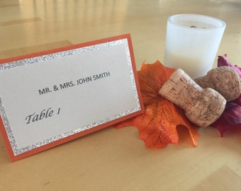 Wedding place cards tent style